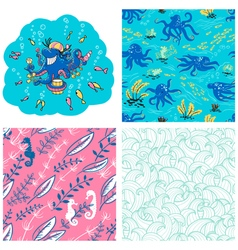 Underwater life set vector