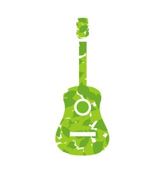 Guitar with green leaves vector