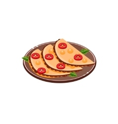 Three quesadillas on plate vector
