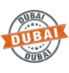 Dubai red round grunge vintage ribbon stamp vector