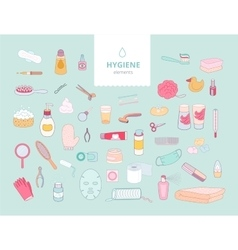 Hygiene elements on green background vector