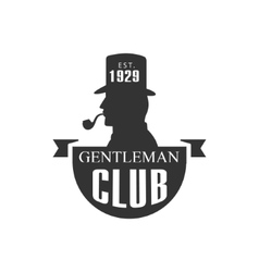Gentleman club label design with man profile vector