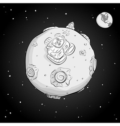 Astronaut on the moon monochrome vector