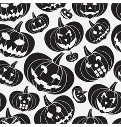 Black halloween carved pumpkin seamless pattern vector