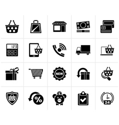 Black on line shop and e-commerce icons vector