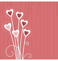 cartoon background with abstract hearts vector image