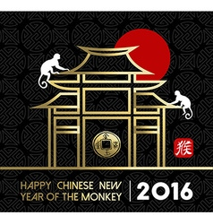 Chinese new year 2016 monkey temple traditional vector
