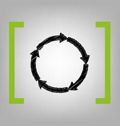 Cirkular arrows sign black scribble icon vector