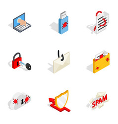 Computer security icons isometric 3d style vector
