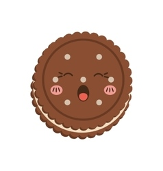 cookie kawaii dessert cute sweet food icon vector image