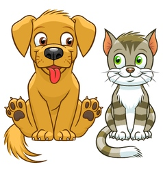 Cute cartoon cat and dog vector image
