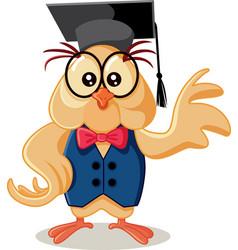 cute owl wearing eyeglasses cartoon vector image vector image