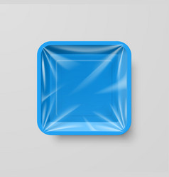 Empty blue plastic food square container on gray vector
