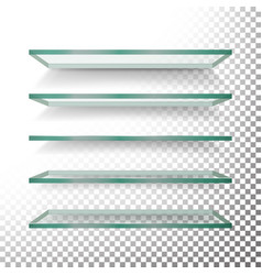 empty glass shelves template set realistic vector image