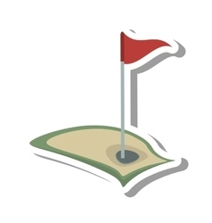 Golf flag hole isolated icon vector