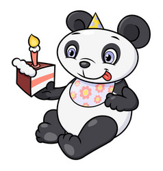 little panda eating birthday cake vector image vector image