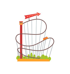Roller coaster with railroad track and train based vector