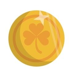 Saint patrick day golden coin shamrock icon vector