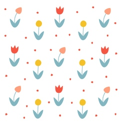 Seamless floral pattern with tulips vector