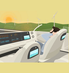 self-driving electric car goes with relaxing vector image
