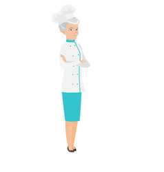 Senior caucasian confident chef cook vector