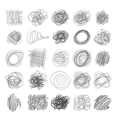 Set of ink lines of hand drawn textures scribbles vector image vector image