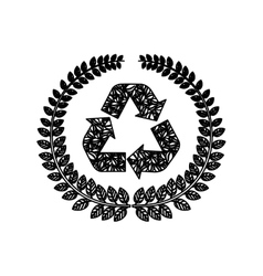 silhouette ornament leaves with recycled symbol vector image vector image