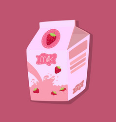 Strawberry flavored milk carton box pink vector
