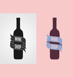 Wine shop logo badge label concept gray vector