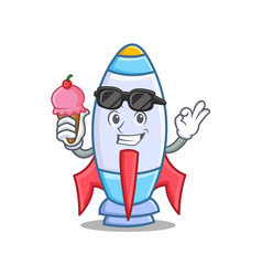 with ice cream cute rocket character cartoon vector image