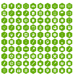 100 learning icons hexagon green vector