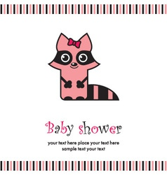 Baby shower with cute raccoon vector