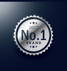 No1 brand silver badge and label design vector