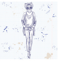 Sketch of model with dog head vector
