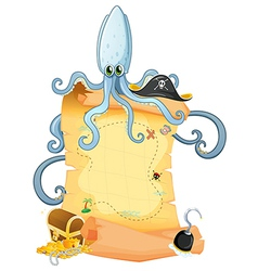 A treasure map with a big octopus vector