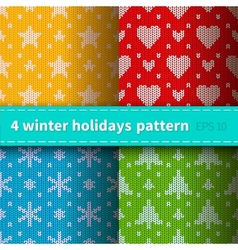 Set of 4 knitted patterns vector