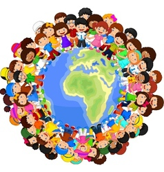 Multicultural children on planet earth vector