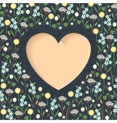 Meadow flowers heart vector
