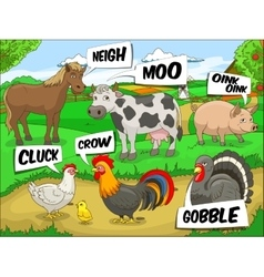 Farm animals talks sound cartoon vector