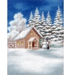 House and snowman in winter forest vector