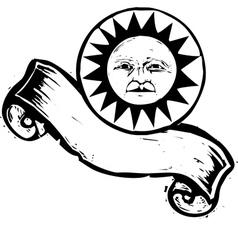 Sun Face Banner B vector image