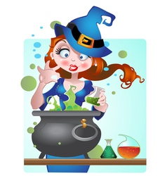 Beautiful witch with copper of poison vector