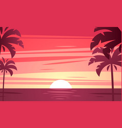 A tropical sunset sunrise with palm trees vector