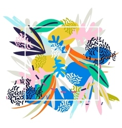 Abstract floral elements paper collage vector image vector image