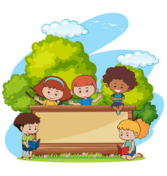 border template with cute girls and boys in park vector image vector image