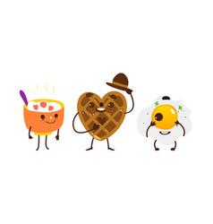 Breakfast characters - oatmeal waffle fried egg vector