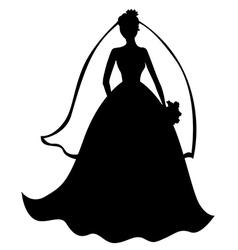 bride silhouette black vector image vector image