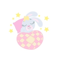 Bunny sleeping in bed vector