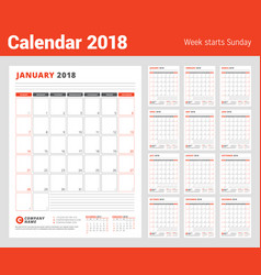 Calendar template for 2018 year business planner vector