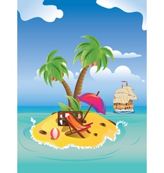 Cartoon Palm Island2 vector image vector image